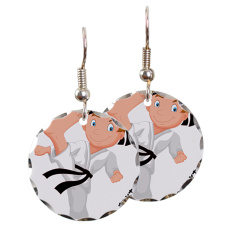 Earring transparent boy. Personalized karate by yourowntext