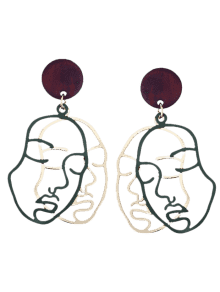 Earring drawing makeup. Outline human face