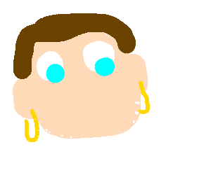 Earrings drawing draw. No nose mouth man