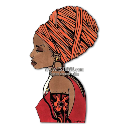 Earring drawing woman. Ethnic with exotic heat