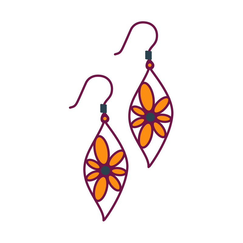 Earring drawing. Clip art transprent png
