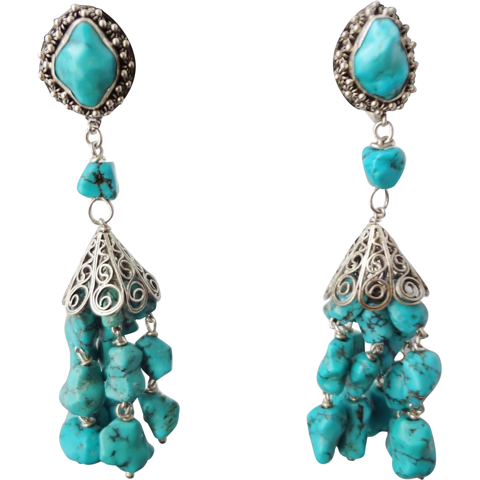 Earring transparent background. Vintage chinese export turquoise