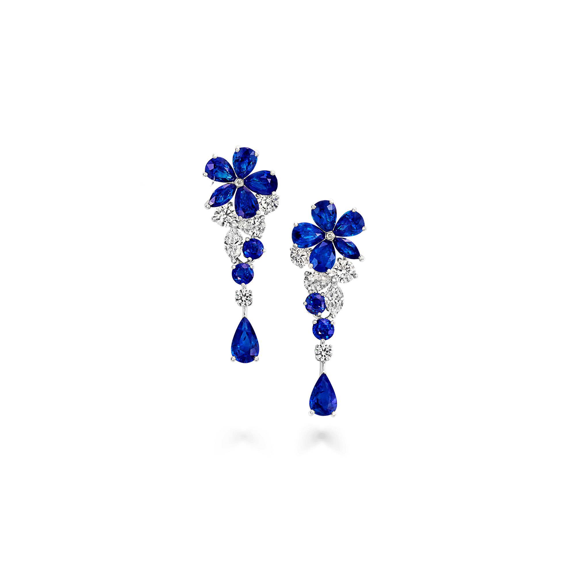 Earring transparent blue flower
