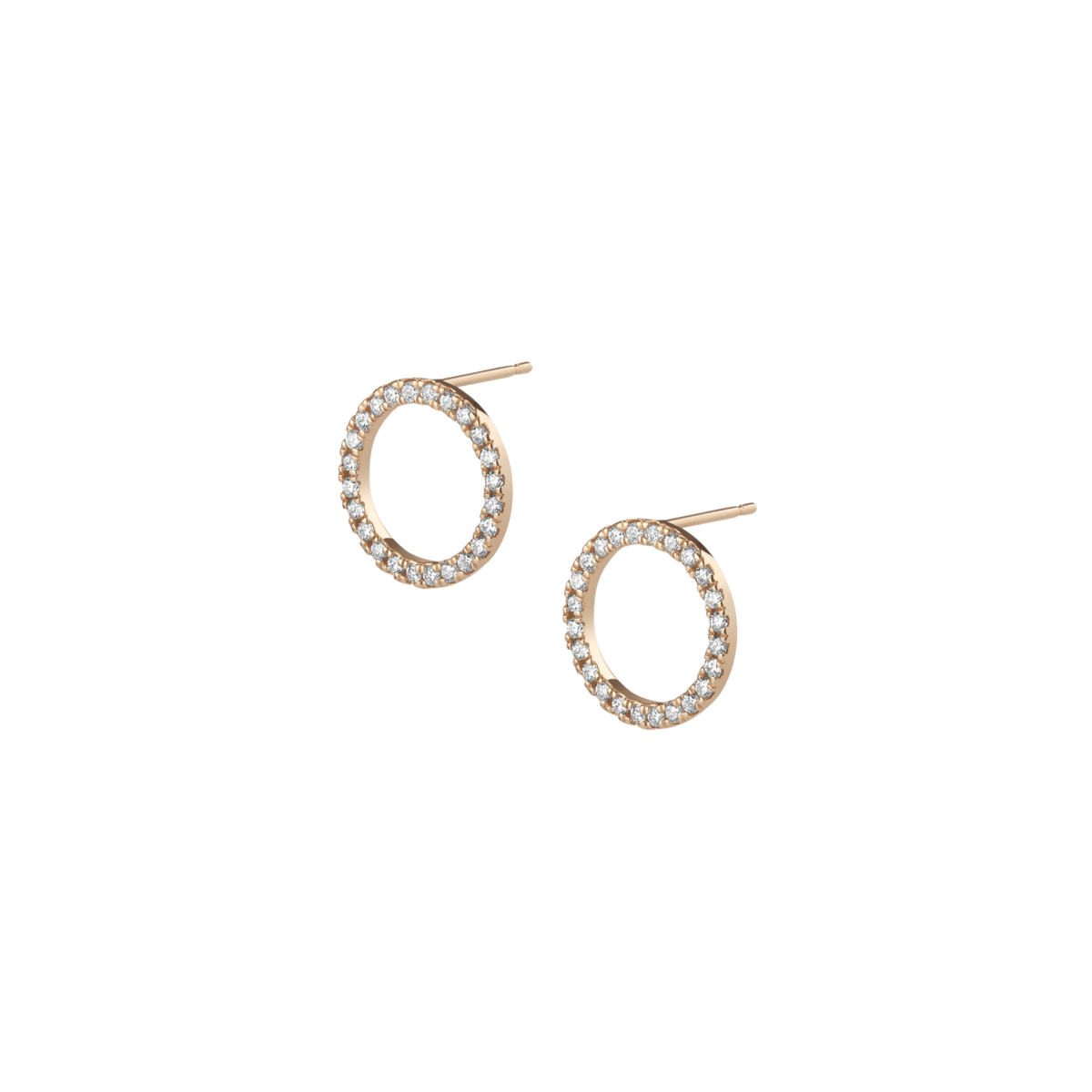 Earring transparent circle. Diamond earrings with white