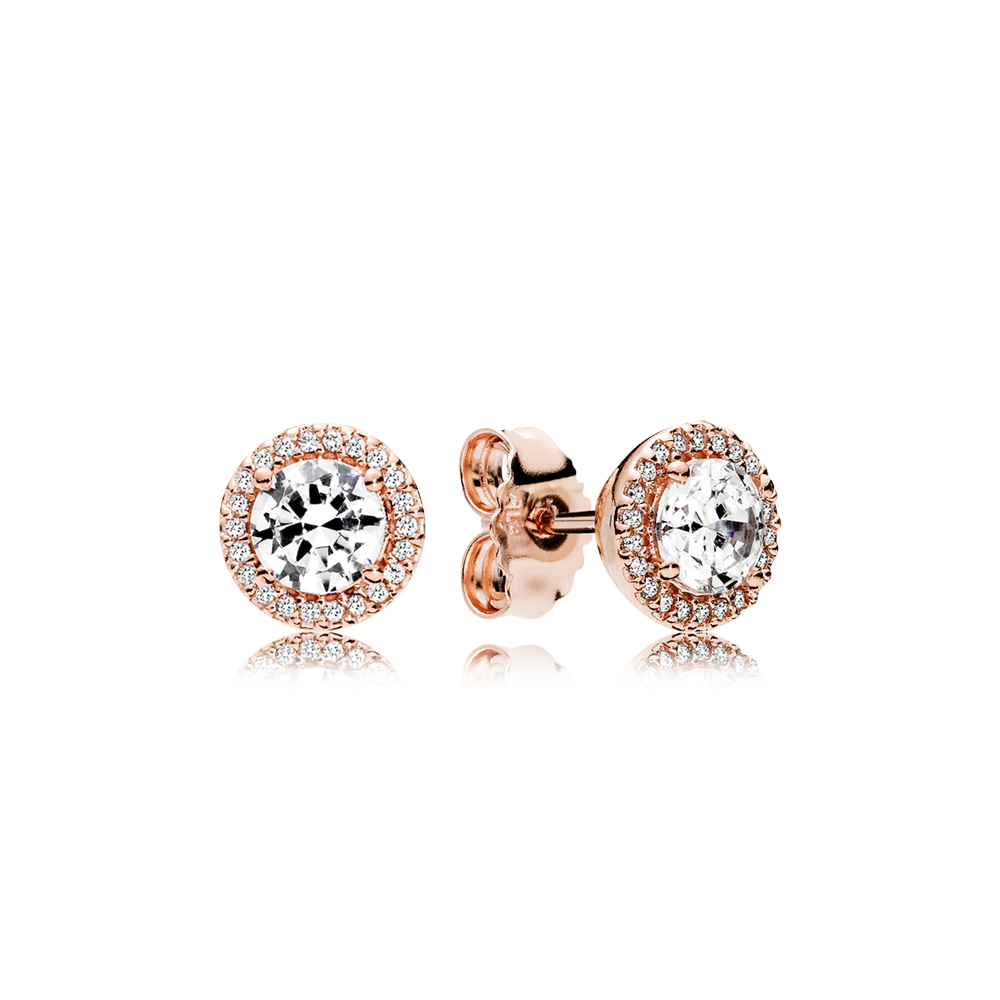 Earring transparent cubic zirconia. Pandora rose stud earrings