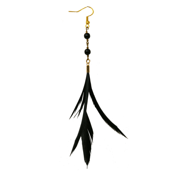 Earring transparent one. Black lana feather earrings