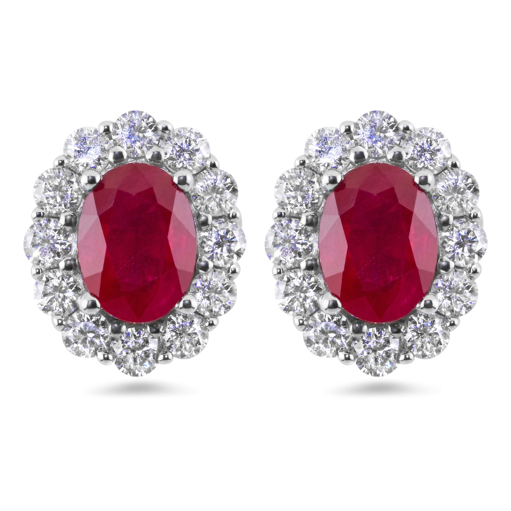 Earring transparent ruby. Red and diamonds earrings
