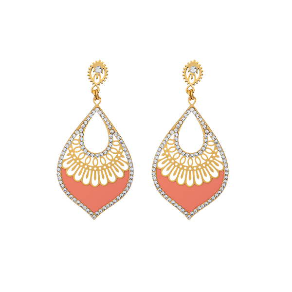 Earring transparent stud. Shiyaya oriental peach gold