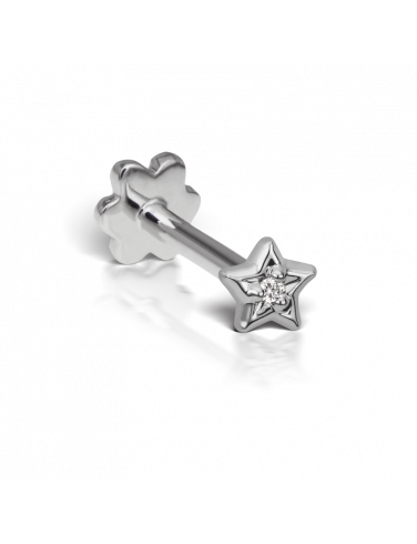 Earring transparent tragus. Diamond solitaire star threaded