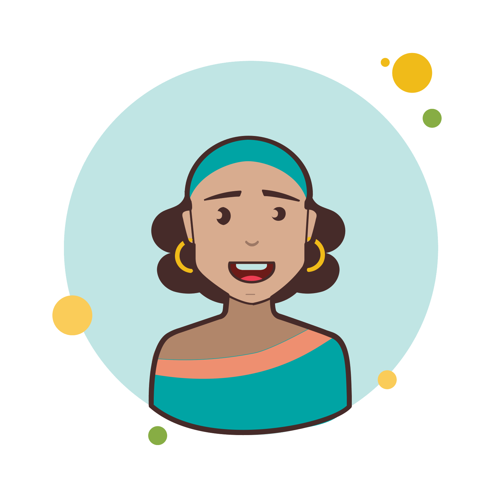 Earring vector illustration. Brown curly hair lady