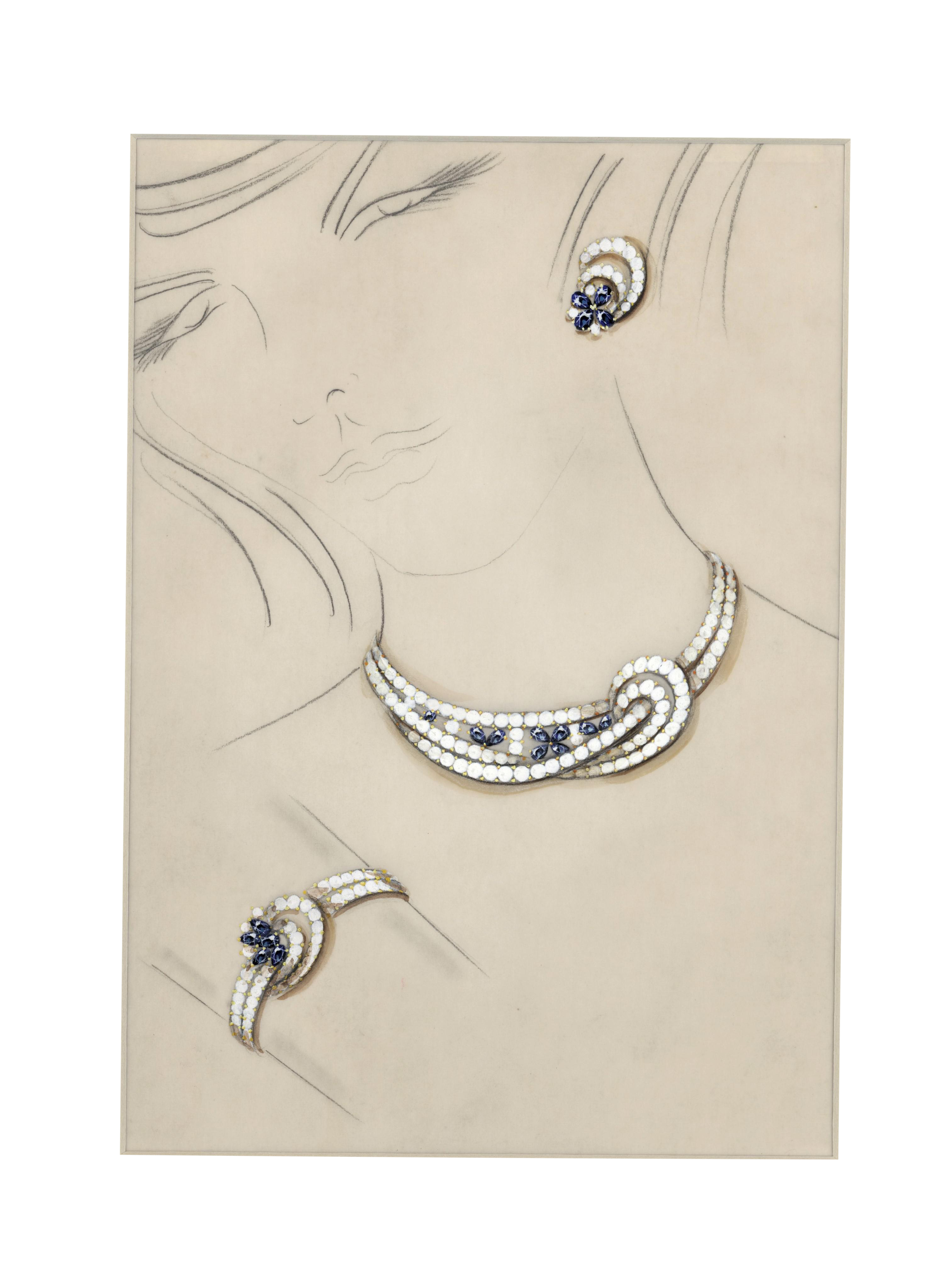 Earrings drawing realistic. Rare matted original french