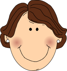 Ears clipart earring clipart. Smiling brown hair lady