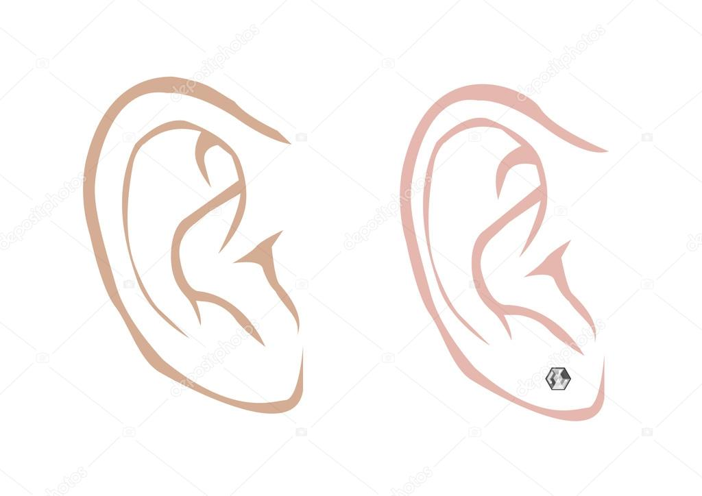 Ears clipart earring clipart. Male and female ear