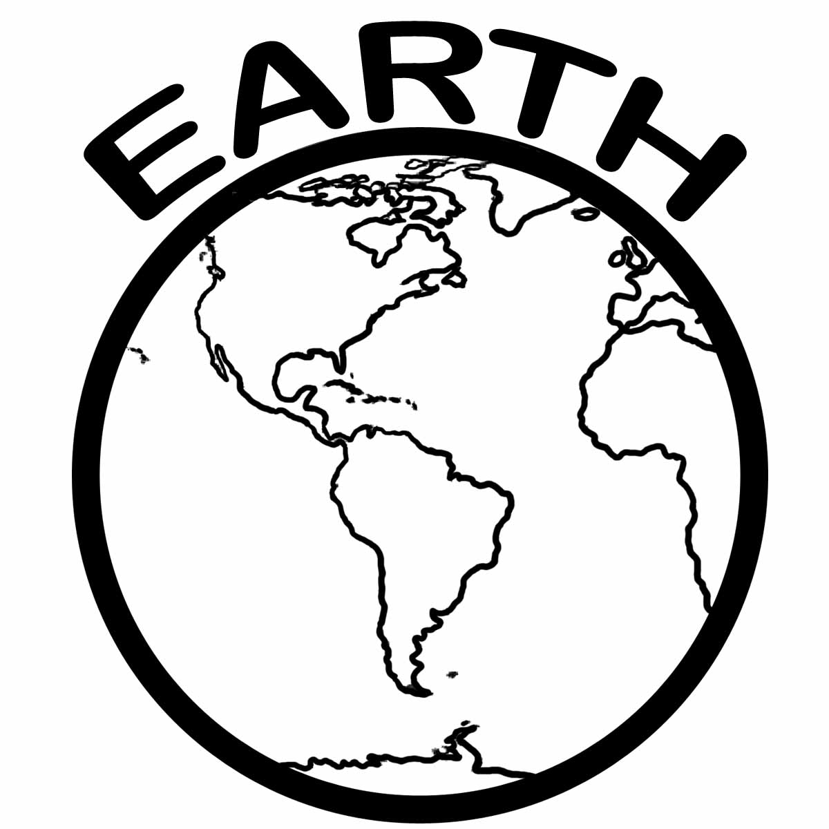 Earth clipart template. Black and white drawing