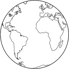 Earth clipart template. Large coloring page great