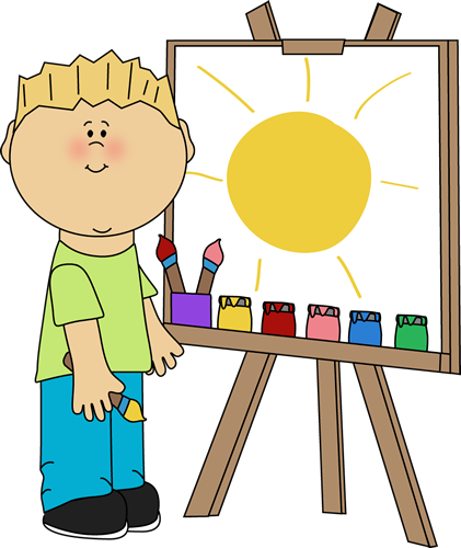 Easel clipart art class. Clip images boy painting