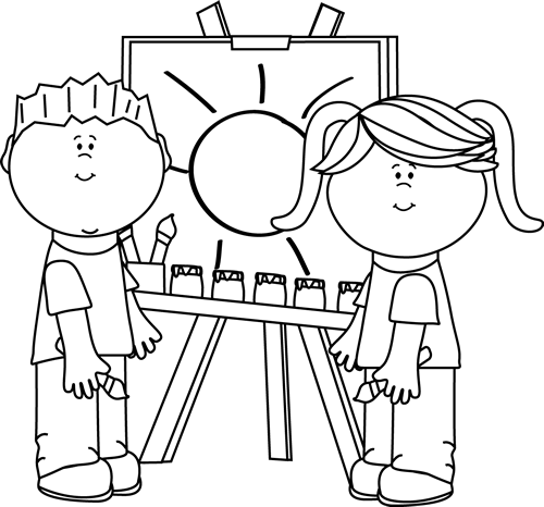 Easel clipart art class. Black and white