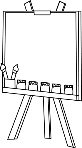 Easel clipart artwork. Black and white clip