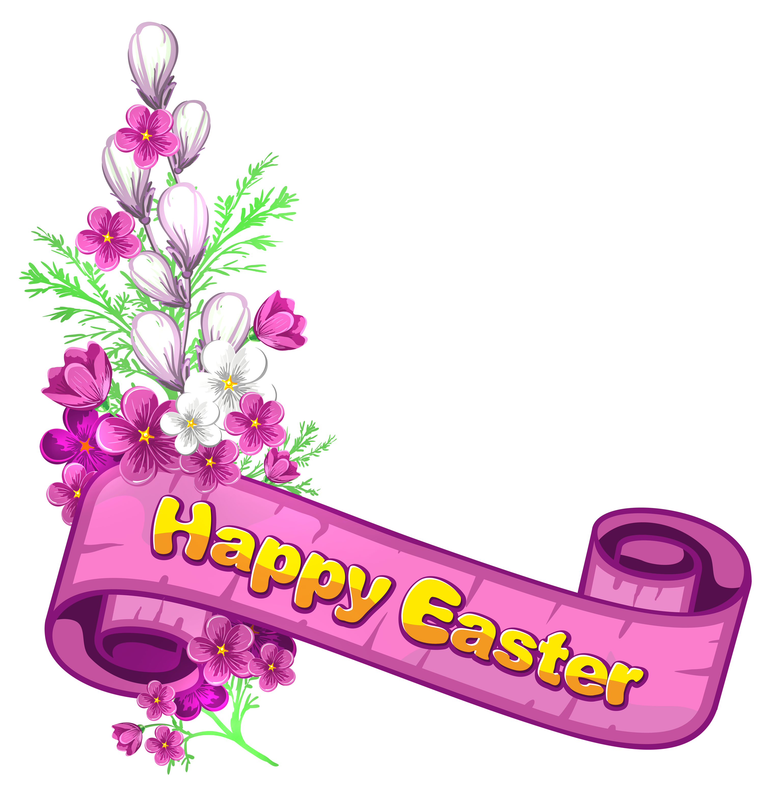 Happy easter clipart border. Pink banner and flowers