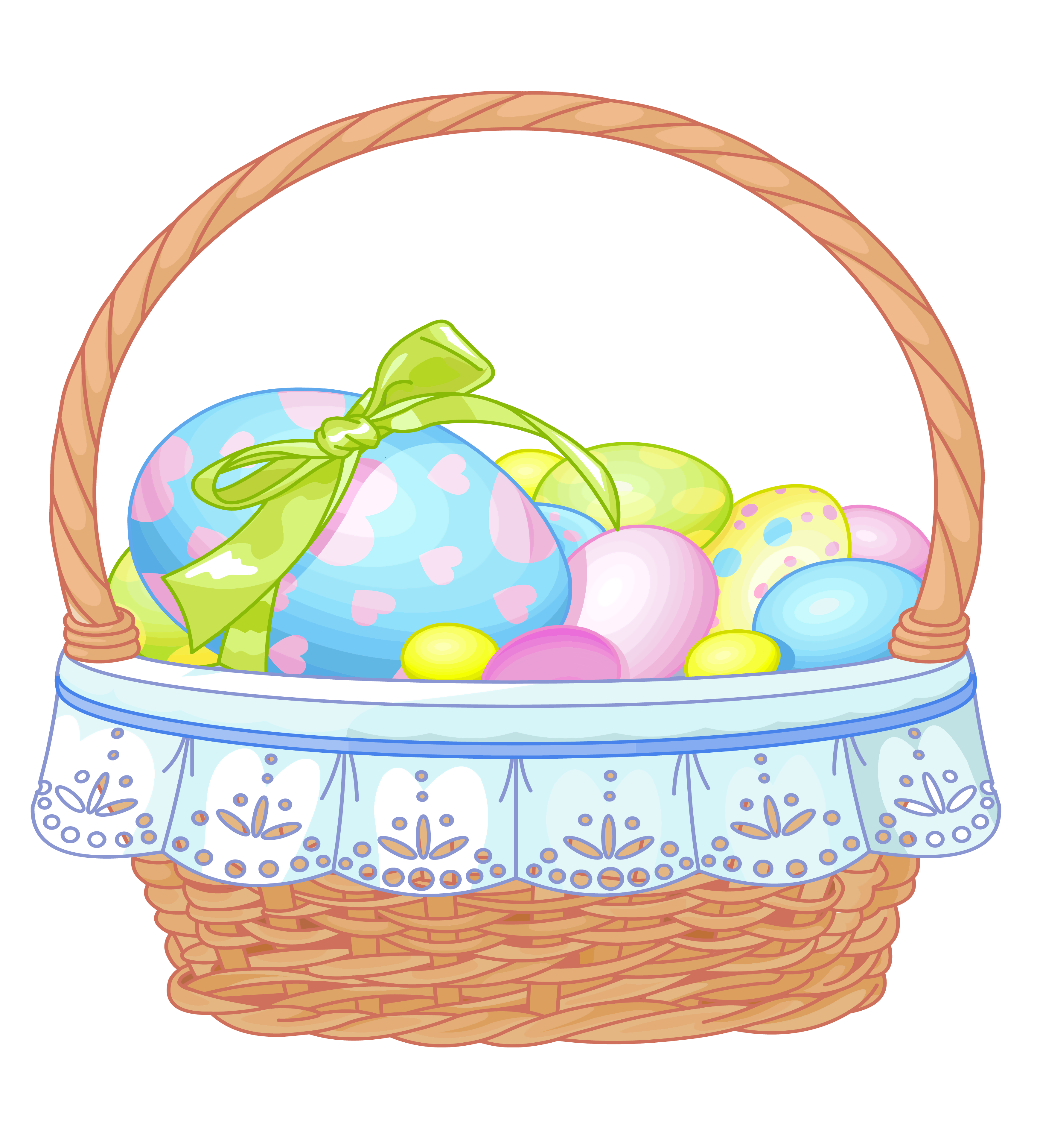 Easter bunny basket png. With eggs transparent clipart