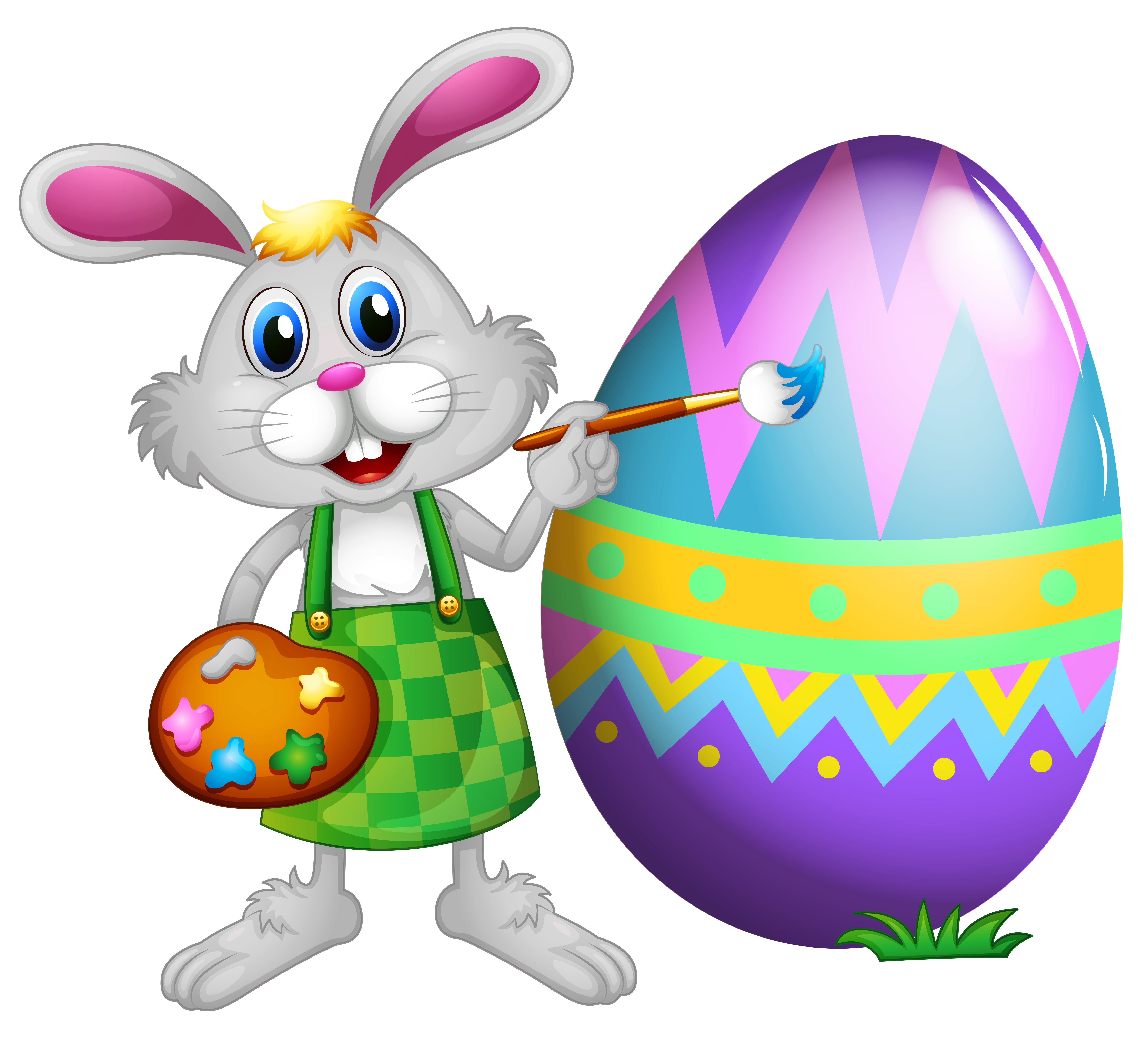 Easter clip art png. Bunny and colored egg