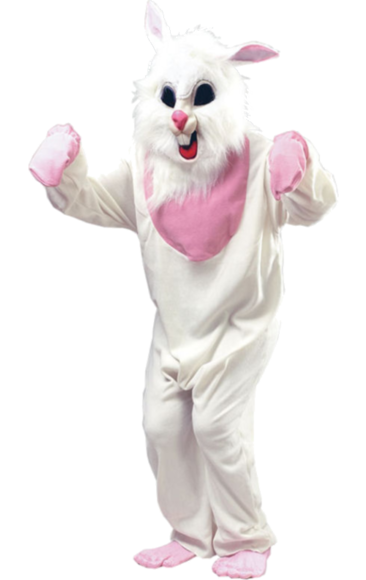 Easter bunny costume png. Adult white animal