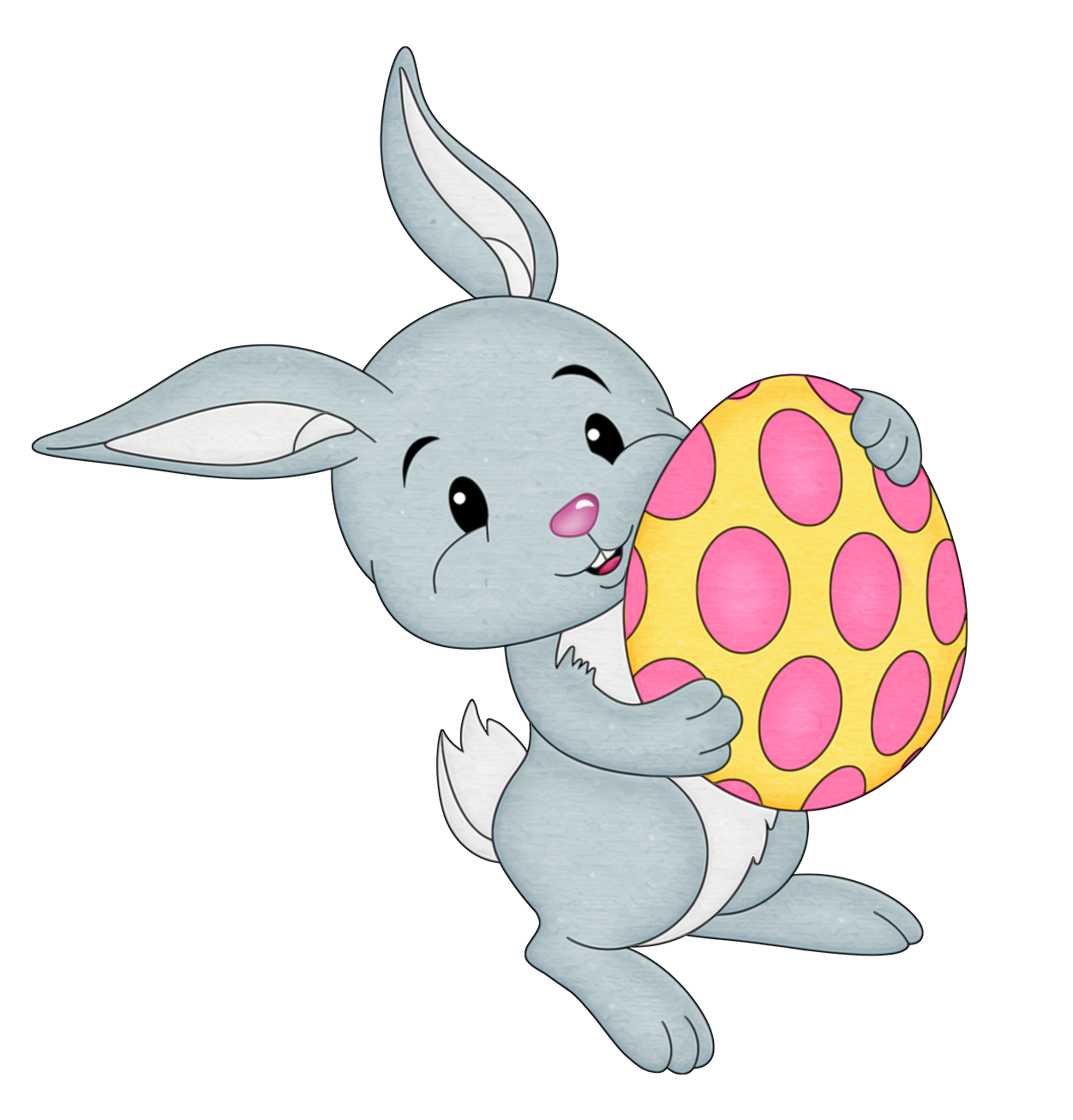 Easter bunny transparent png. With yellow egg clipart