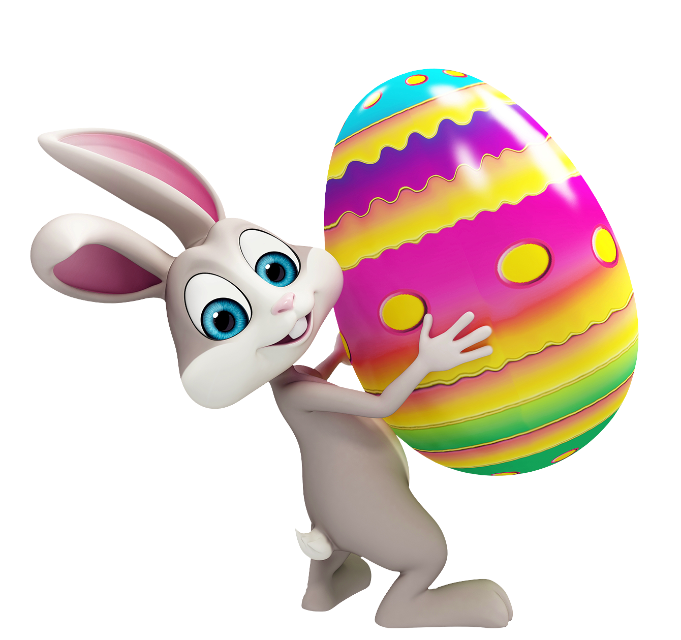 Easter bunny transparent png. With colorful egg clipart