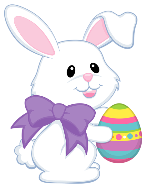 Easter bunny transparent png. Cute with purple bow