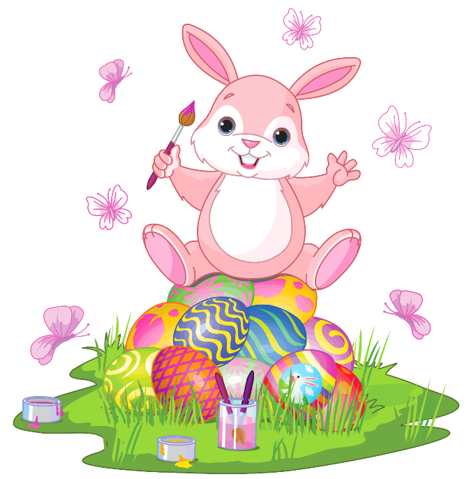 Easter bunny vector png. With eggs and grass