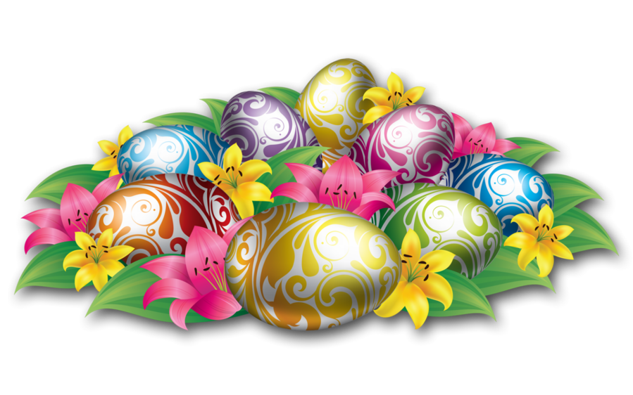Easter candy png. Large eggs with flowers