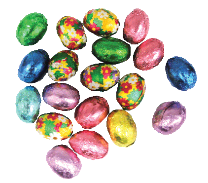 Easter candy png. Foiled eggs