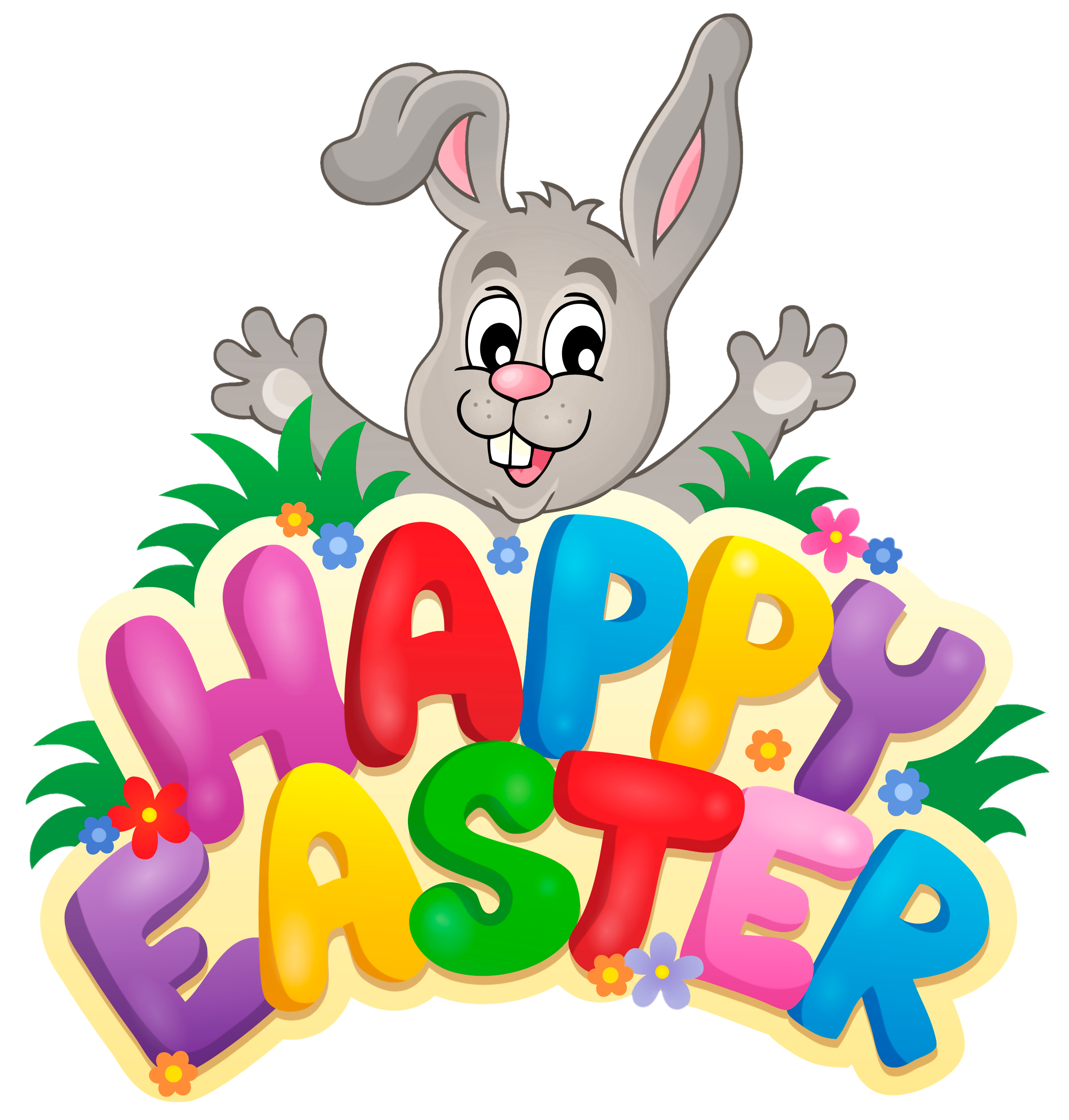 Easter clip art png. Transparent happy with bunny