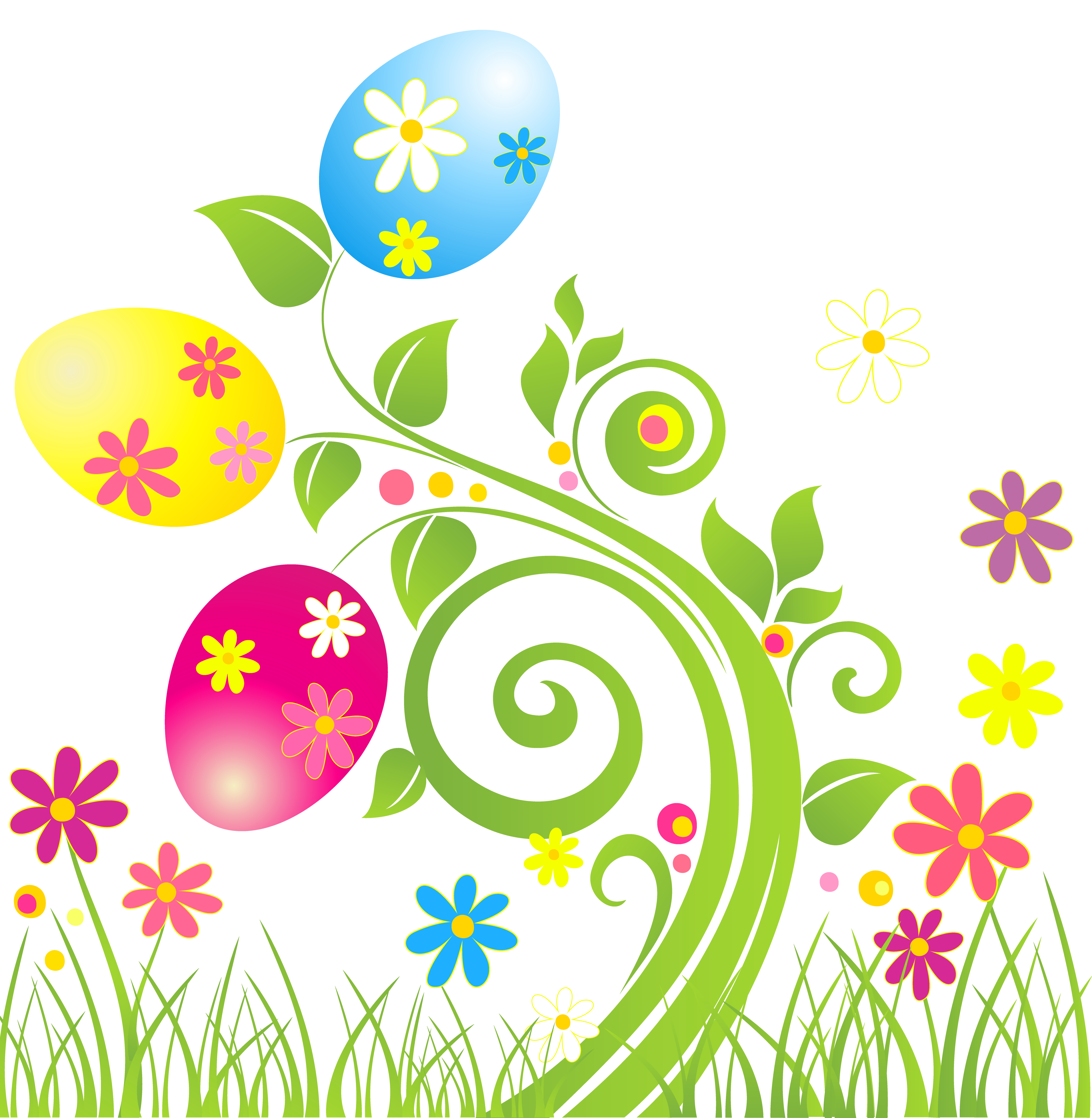 Easter clip art png. Egg decoration with flowers