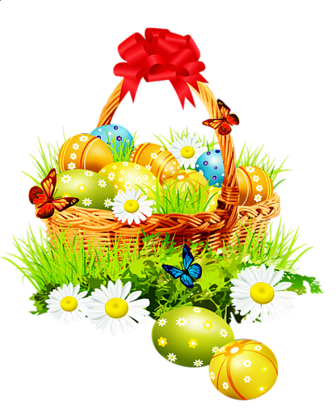 Easter clip beautiful. Basket with red ribbon
