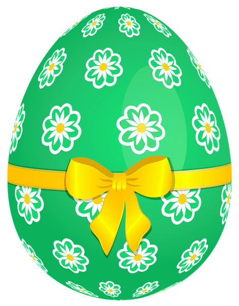 Easter clip green. Egg with flowers and