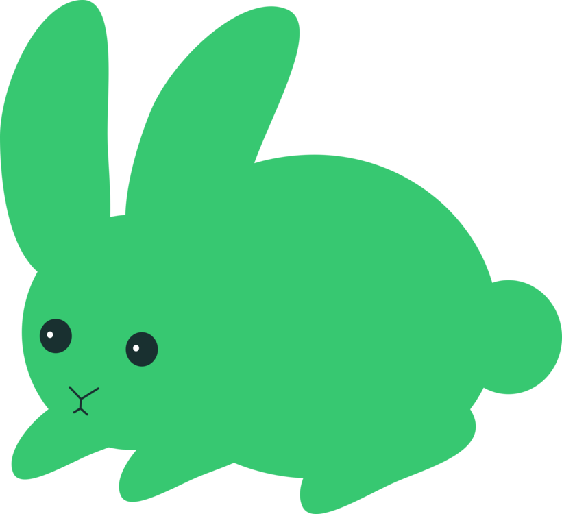 Easter clip green. Domestic rabbit hare bunny