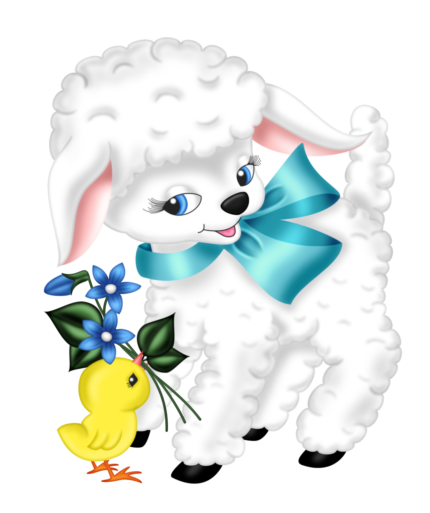 Easter clip lamb. Transparent and chicken png