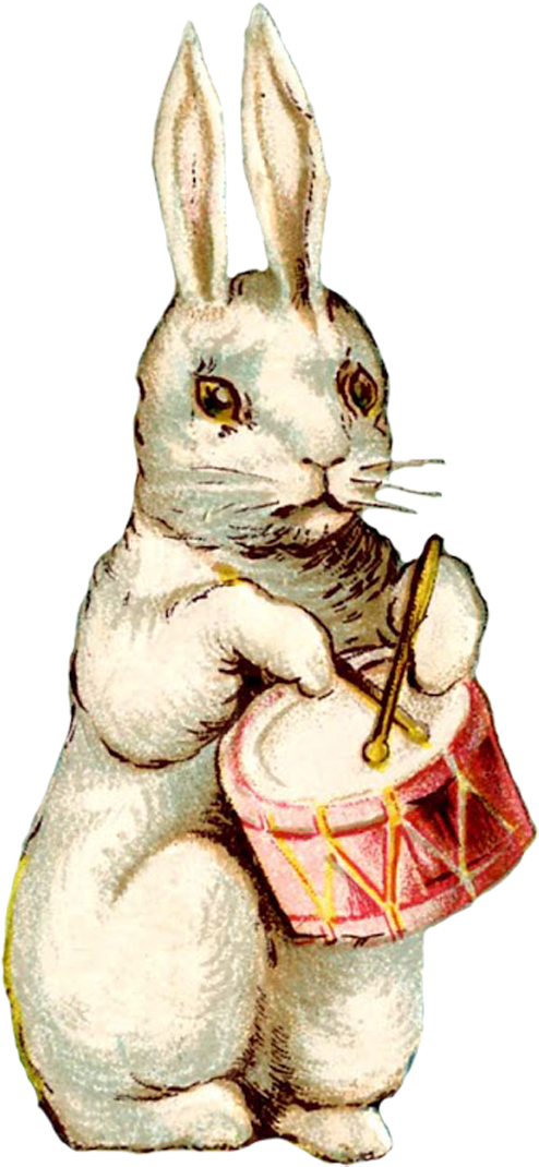 Easter clip old fashioned. Vintage musical bunny scraps