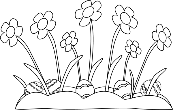 Eggs clipart outline. Black and white easter