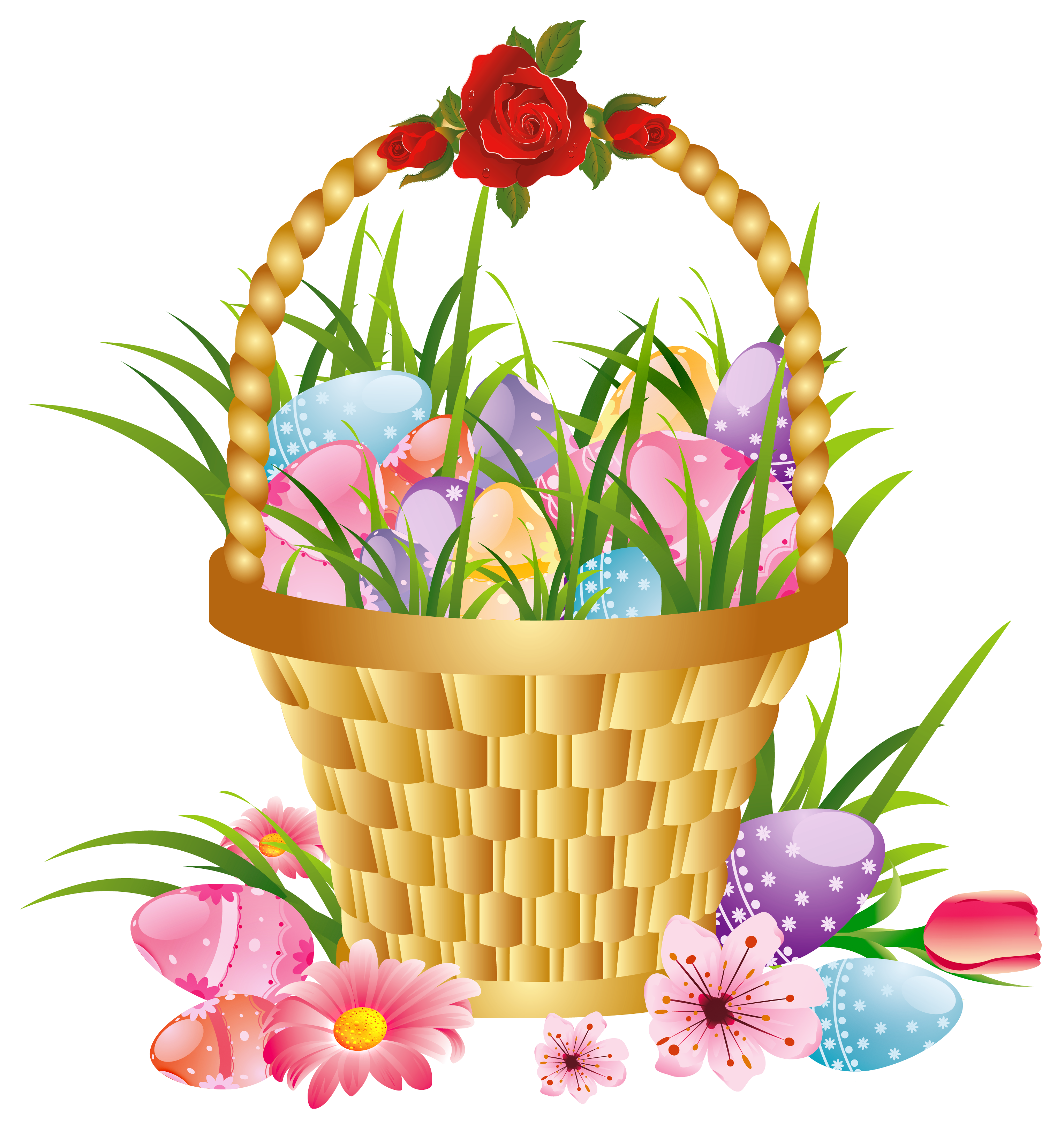 Easter clipart transparent background. Basket with eggs and