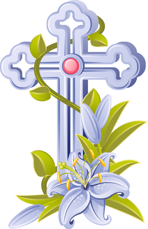 Cross clip easter. Religious christian coloring page