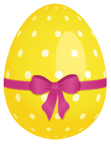Easter egg clip art png. Yellow dotted with pink