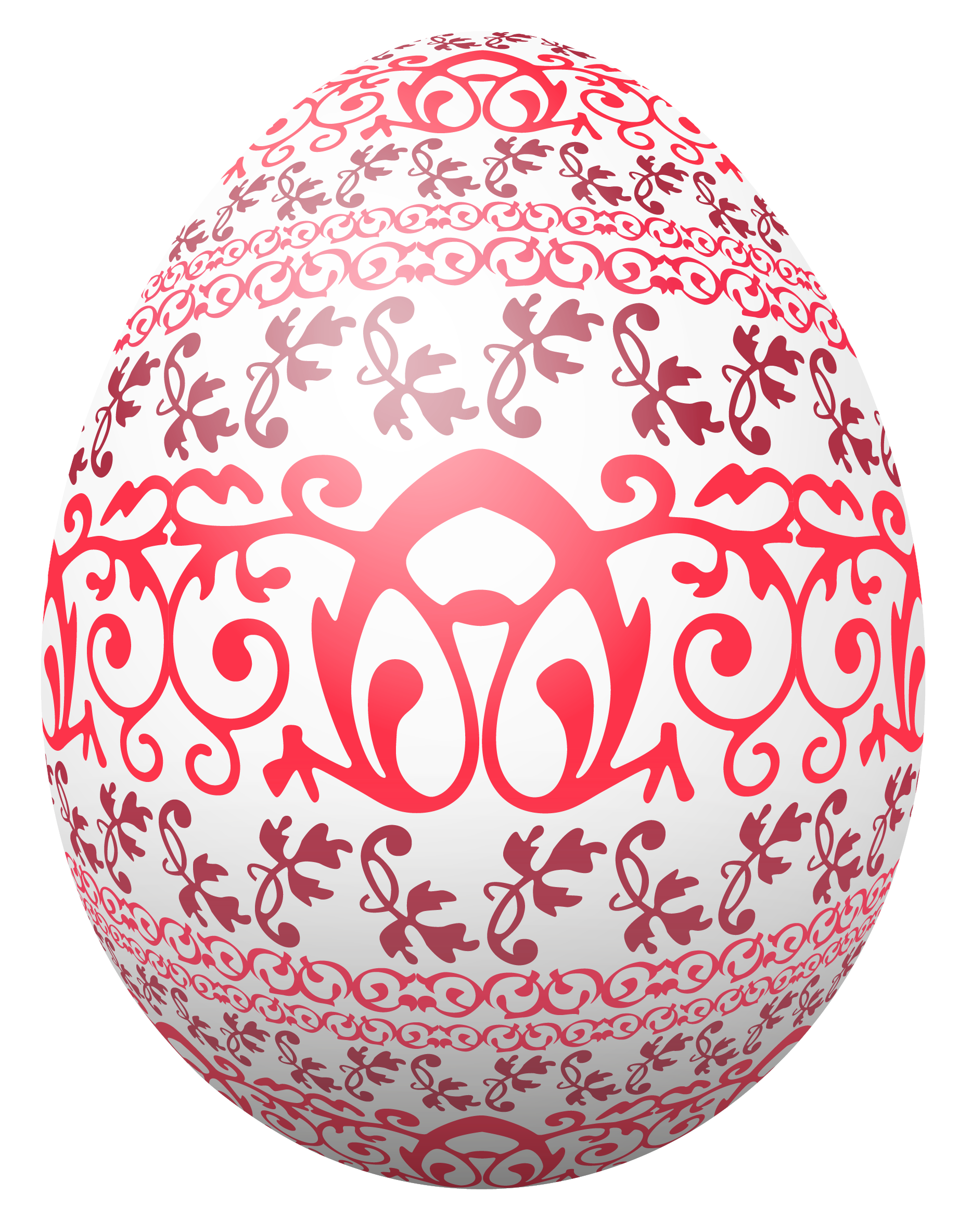 Easter egg designs png. White with red decoration