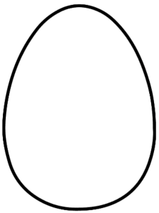 Oval drawing egg. Easter cross craft holiday