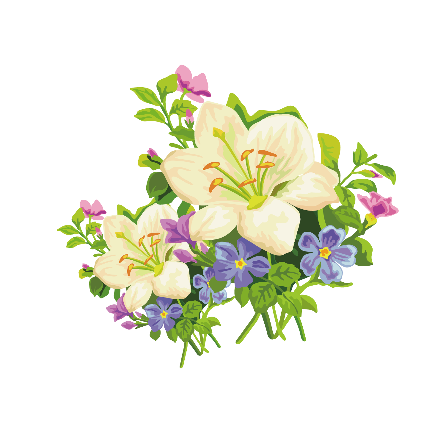 Easter flowers bouquet png. Lily amaryllis belladonna flower