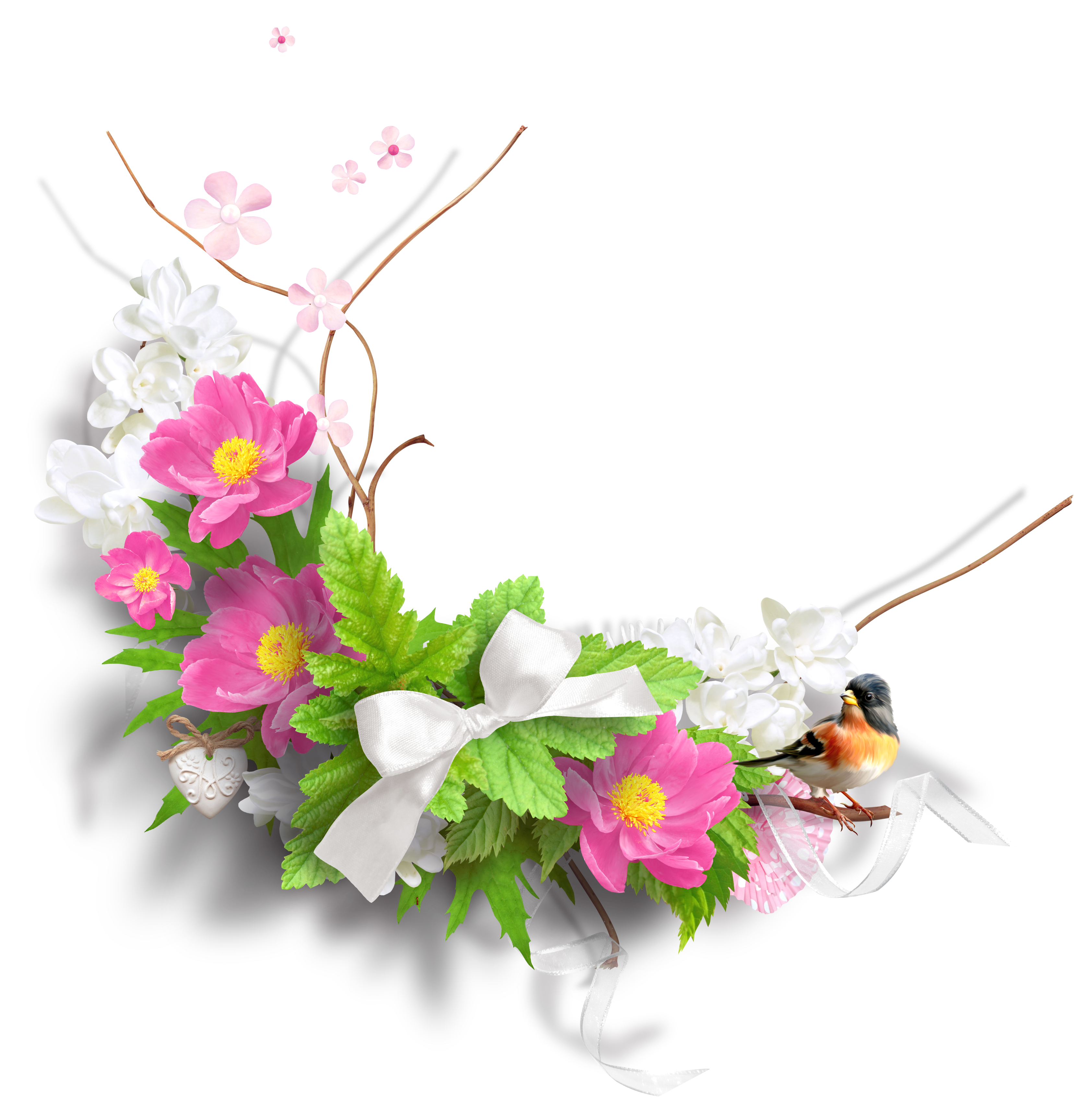 Easter flowers bouquet png. Spring decoration clipart picture