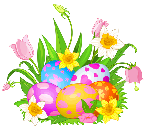 Easter clip flower. Eggs and flowers png
