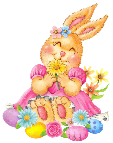 Easter flowers png. Bunny with eggs and