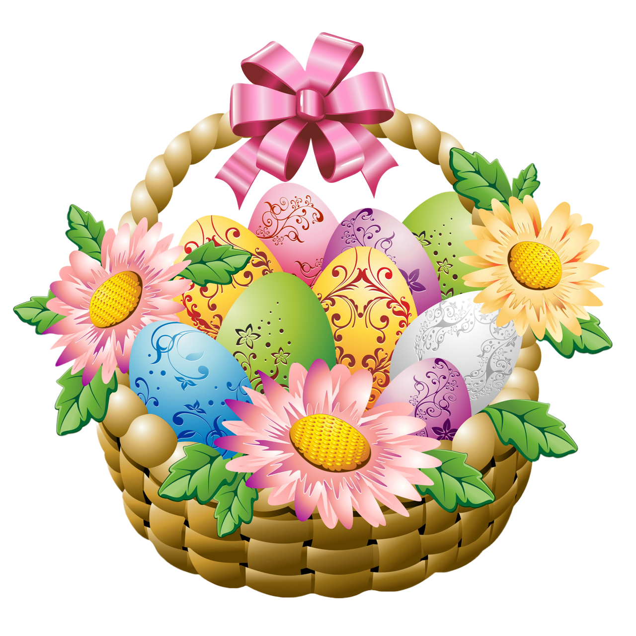 Easter flowers png. Basket with eggs and